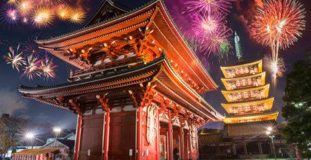 Fuochi d'artificio a capodanno a Tokyo - Watabi