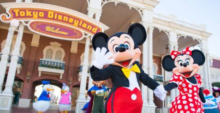 Mickey and Minnie in front of Disneyland Tokyo - Watabi