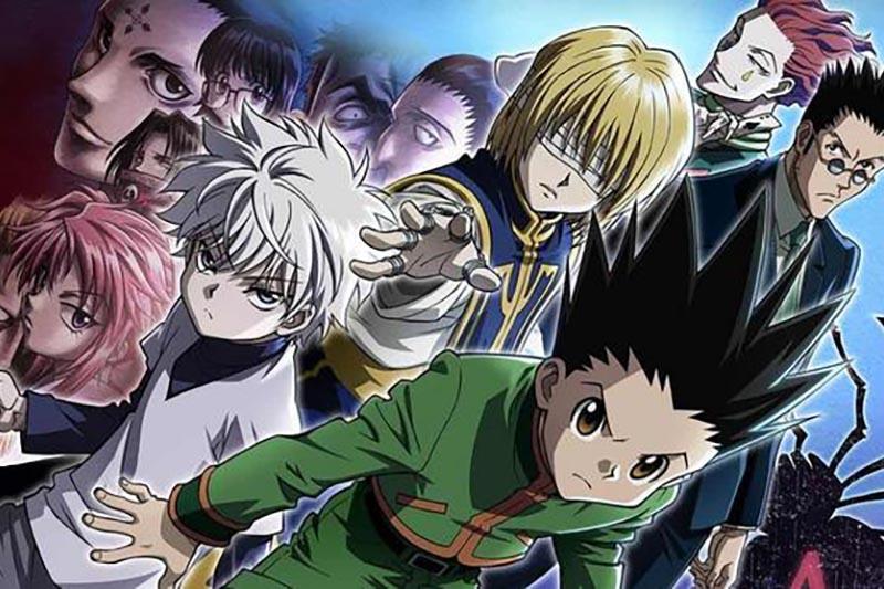 una tavola disegnata dal mangaka yoshihiro togashi con i suoi personaggi principali