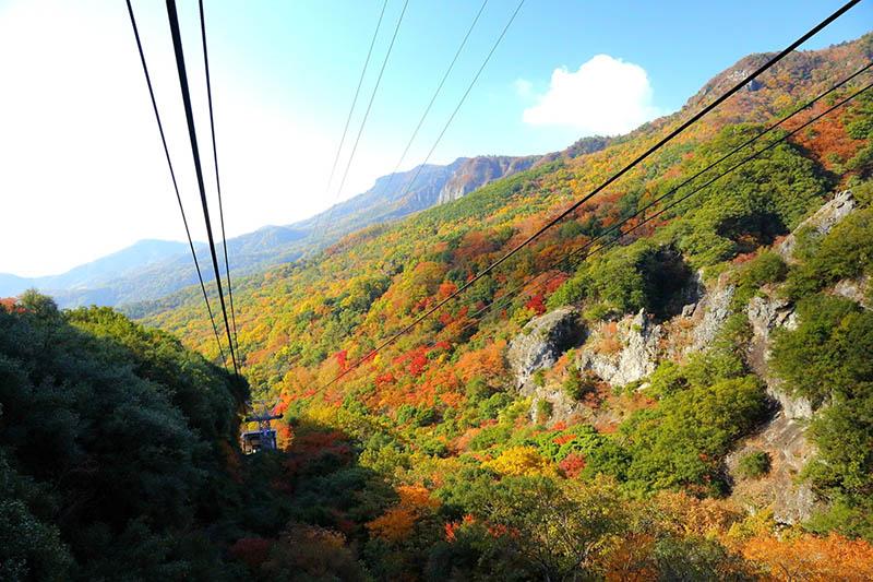 la vista della funivia di shodoshima in autunno