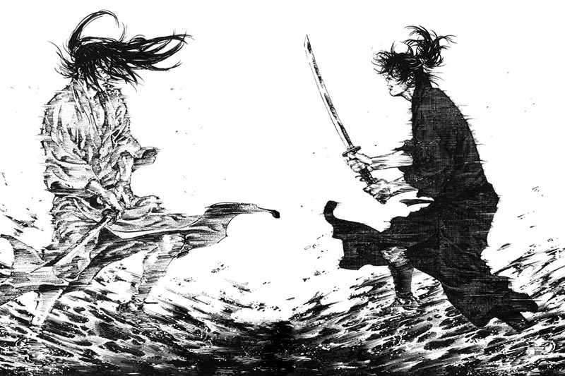 due personaggi del samurai manga vagabond si affrontano