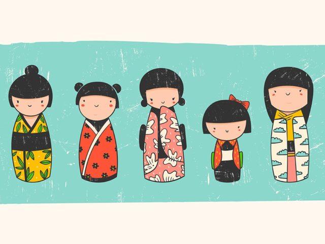 cinque kokeshi disegnate in stile kawaii