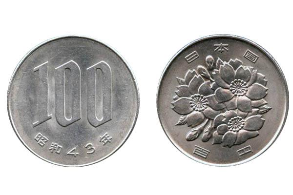 fronte e retro di una moneta da 100 yen