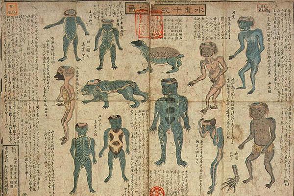 una stampa dell'800 dove si vede il mostro giapponese Kappa
