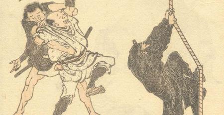disegno antico che rappresenta due ninja giapponesi