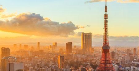 la città di tokyo al tramonto vista dall'alto